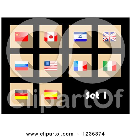 Clipart of National Flag Icons on Black - Royalty Free Vector Illustration by Vector Tradition SM