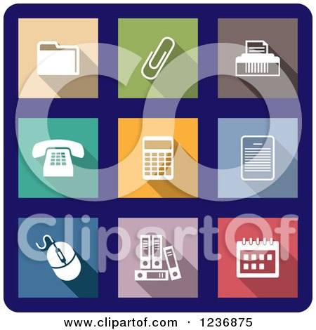 Clipart of Colorful Office Icons on Blue - Royalty Free Vector Illustration by Vector Tradition SM