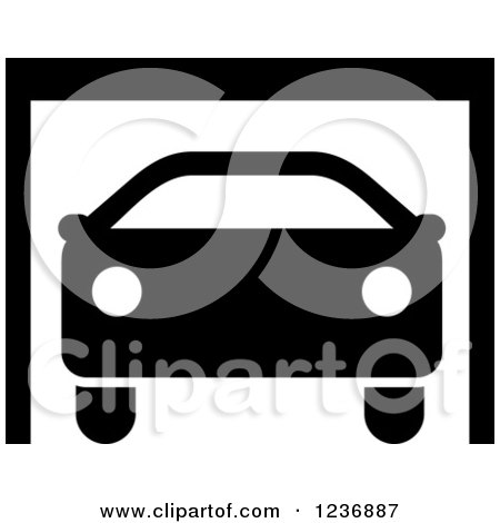 Garage Clipart Black And White Clipart of a Black And White
