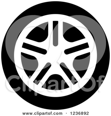 Clipart of a Black and White Car Tire Icon - Royalty Free Vector Illustration by Vector Tradition SM