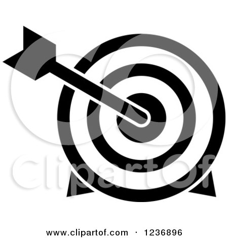 Clipart of a Black and White Bullseye Archery Arrow and Target Icon - Royalty Free Vector Illustration by Vector Tradition SM