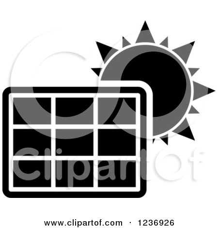 Clipart Of A Black And White Solar Energy Icon Royalty