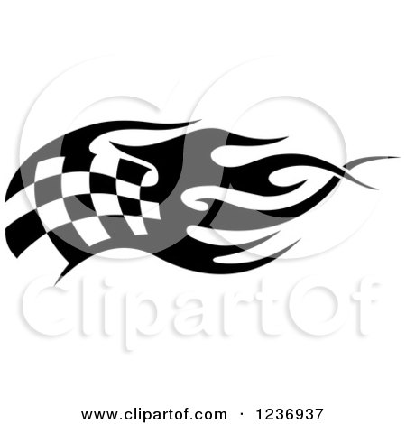 Clipart of a Black and White Flaming Checkered Racing Flag 5 - Royalty Free Vector Illustration by Vector Tradition SM