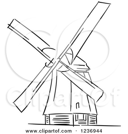 Clipart of a Black and White Sketched Moulin Rouge Windmill ...