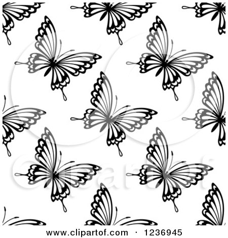 Clipart of a Seamless Black and White Butterfly Background Pattern 3 - Royalty Free Vector Illustration by Vector Tradition SM