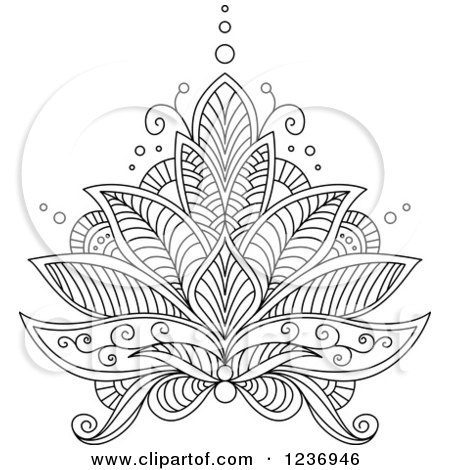 White Henna Lotus Flower 6 Lotus Flower Graphic Design