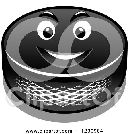 Clipart of a Tough Hockey Puck Character - Royalty Free Vector Illustration by Vector Tradition SM
