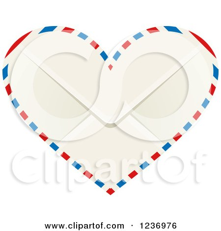 Clipart of a Heart Shaped Valentine Air Mail Envelope - Royalty Free Vector Illustration by Vector Tradition SM