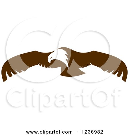 Clipart of a Flying Brown Bald Eagle - Royalty Free Vector Illustration by Vector Tradition SM
