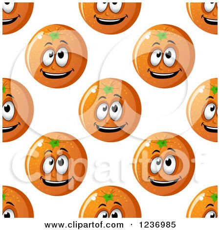 Clipart of a Seamless Background Pattern of Happy Oranges - Royalty Free Vector Illustration by Vector Tradition SM