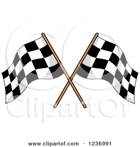 Clipart of a Crossed Checkered Racing Flags 3 - Royalty Free Vector Illustration by Vector Tradition SM