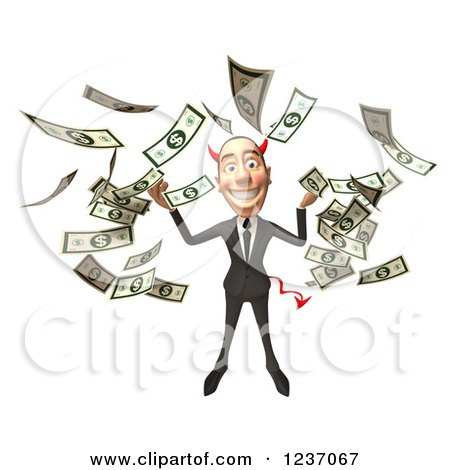 Clipart of a 3d Devil Con Artist Business Man in Raining Money - Royalty Free Illustration by Julos