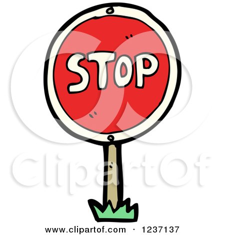 Clipart of a Round Stop Sign - Royalty Free Vector Illustration by lineartestpilot
