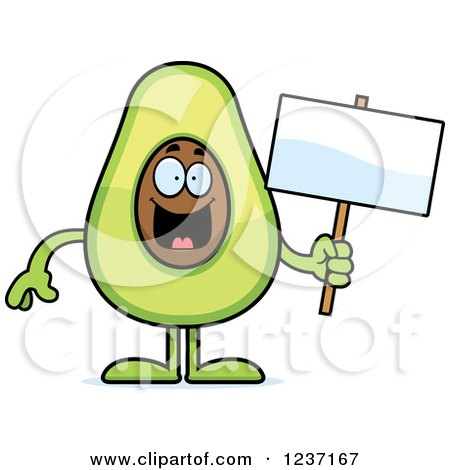 Clipart of a Happy Avocado Character Holding a Sign - Royalty Free Vector Illustration by Cory Thoman