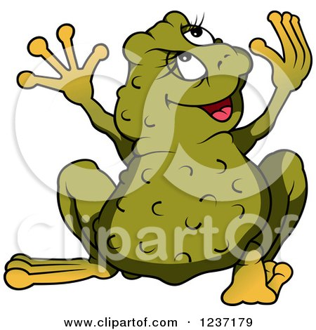 Clipart of a Female Frog Looking Back and Holding Her Arms up - Royalty Free Vector Illustration by dero