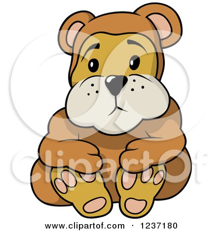 Clipart of a Sad Teddy Bear - Royalty Free Vector Illustration by dero