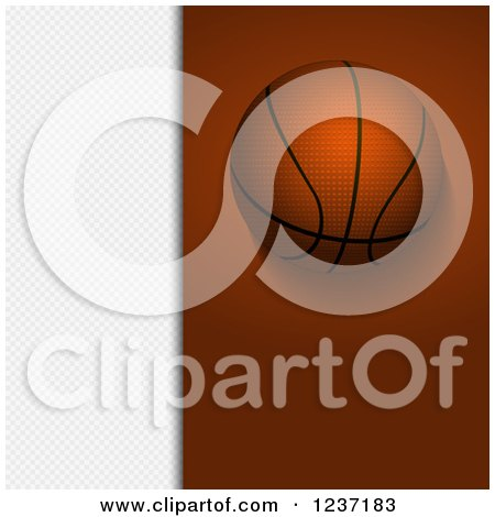 Clipart of a Basketball over Brown and White Panels - Royalty Free Vector Illustration by elaineitalia