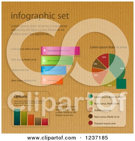 Clipart of a Set of Infographic Designs on Brown Paper - Royalty Free Vector Illustration by elaineitalia