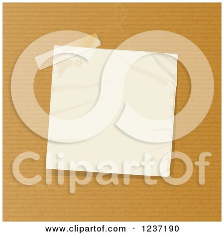 Clipart of a Taped Crumpled Note Paper on Brown - Royalty Free Vector Illustration by elaineitalia
