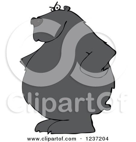 Clipart of a Stern Black Bear with His Hands on His Hips - Royalty Free Vector Illustration by djart