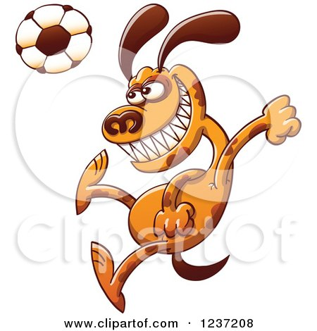 Clipart of a Brown Dog Plaing Soccer - Royalty Free Vector Illustration by Zooco