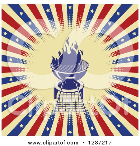 Clipart of a Flaming Bbq Grill over American Stars and Stripes - Royalty Free Vector Illustration by Pushkin