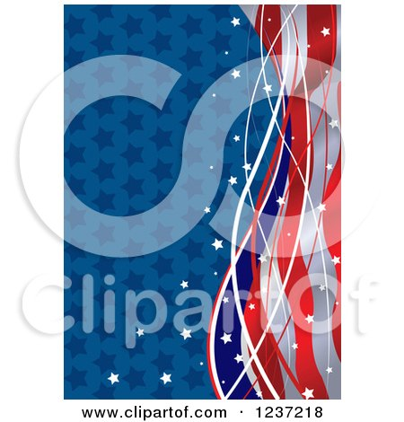 Clipart of a Patriotic American Star and Stripes Wave Background - Royalty Free Vector Illustration by Pushkin