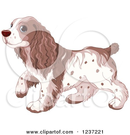 Clipart of a Cute Walking Spaniel Dog - Royalty Free Vector Illustration by Pushkin