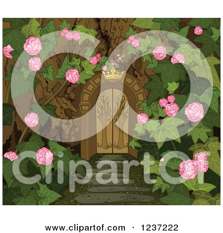 Clipart of a Crown over a Gate to a Secret Garden - Royalty Free Vector Illustration by Pushkin