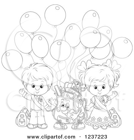 Clipart of an Outlined School Boy and Girl with a Backpack and Party Balloons - Royalty Free Vector Illustration by Alex Bannykh