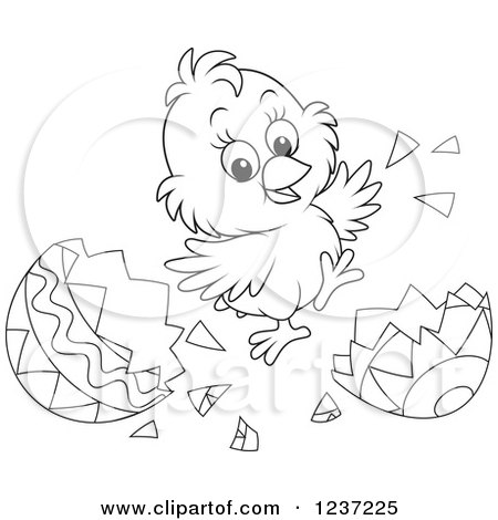 Clipart of an Outlined Happy Easter Chick Jumping and Hatching Grom an Egg - Royalty Free Vector Illustration by Alex Bannykh