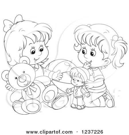 Clipart Of Black And White Two Happy Girls Playing With
