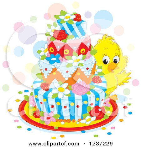 Clipart of a Cute Yellow Chick Looking Around an Easter Cake - Royalty Free Vector Illustration by Alex Bannykh