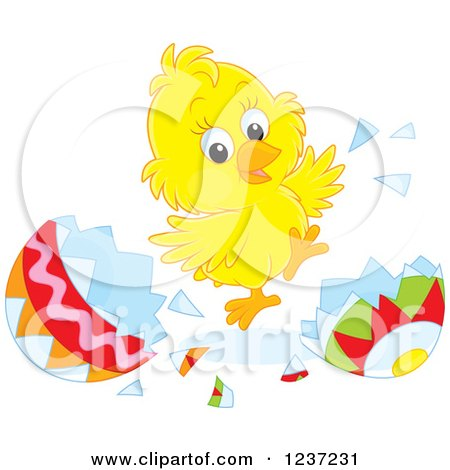 Clipart of a Happy Easter Chick Jumping and Hatching Grom an Egg - Royalty Free Vector Illustration by Alex Bannykh