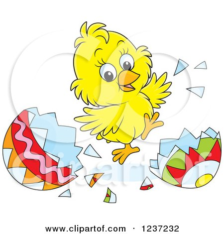 Clipart of a Yellow Easter Chick Jumping and Hatching Grom an Egg - Royalty Free Vector Illustration by Alex Bannykh