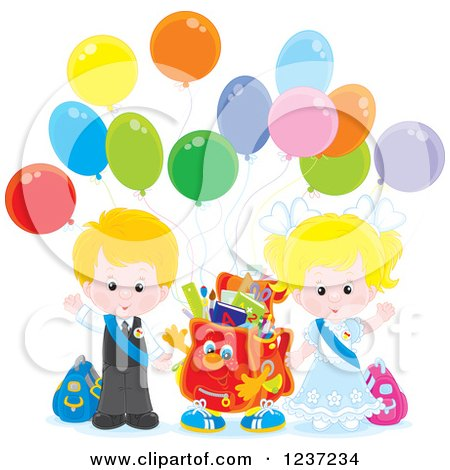 Clipart of a Caucasian School Boy and Girl with a Backpack and Party Balloons - Royalty Free Vector Illustration by Alex Bannykh
