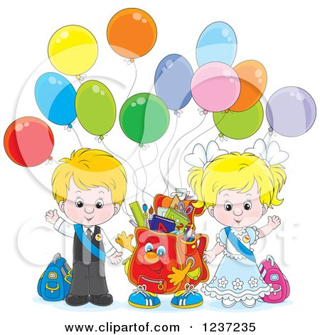 Clipart of a Waving Caucasian School Boy and Girl with a Backpack and Party Balloons - Royalty Free Vector Illustration by Alex Bannykh