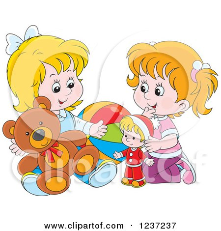 Clipart of Two Happy White Girls Playing with Toys - Royalty Free Vector Illustration by Alex Bannykh