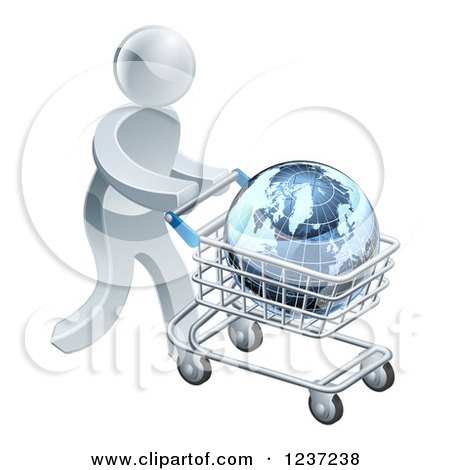 Clipart of a 3d Silver Man Pushing a Globe in a Shopping Cart - Royalty Free Vector Illustration by AtStockIllustration