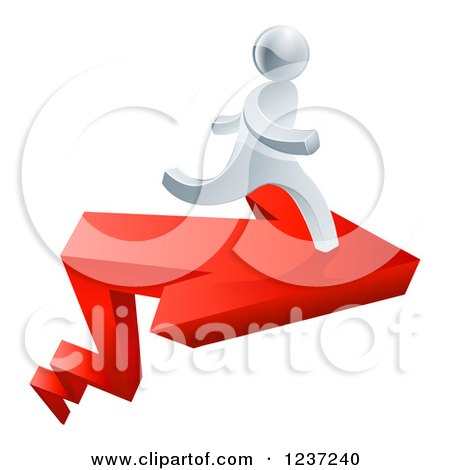 Clipart of a 3d Successful Silver Man Running on a Red Arrow - Royalty Free Vector Illustration by AtStockIllustration