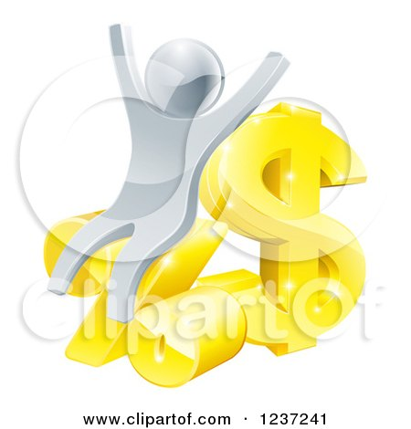 Clipart of a 3d Cheering Silver Man with Gold and Percent Finance Symbols - Royalty Free Vector Illustration by AtStockIllustration