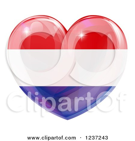 Clipart of a 3d Reflective Netherlands Flag Heart - Royalty Free Vector Illustration by AtStockIllustration