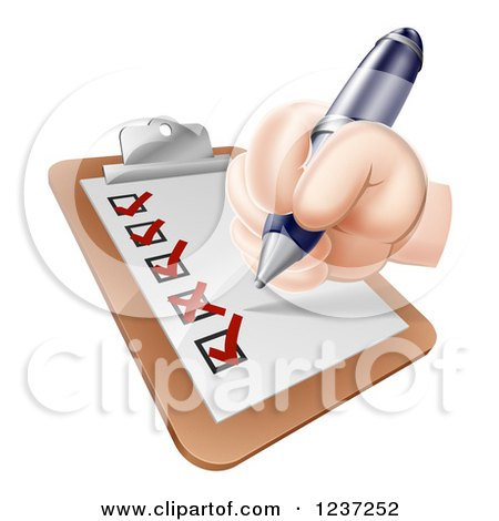 Clipart of a Hand Filling out a Satisfaction Survey on a Clipboard - Royalty Free Vector Illustration by AtStockIllustration