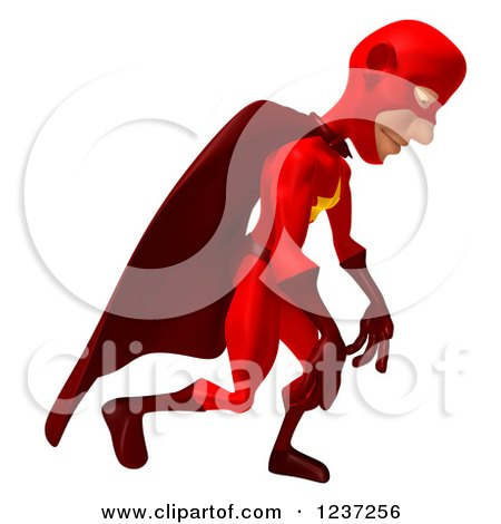 Clipart of a 3d Red Male Super Hero Pouting in Defeat - Royalty Free Illustration by Julos