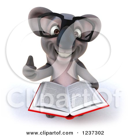 Clipart of a 3d Bespectacled Koala Holding a Thumb up and Reading a Book - Royalty Free Illustration by Julos