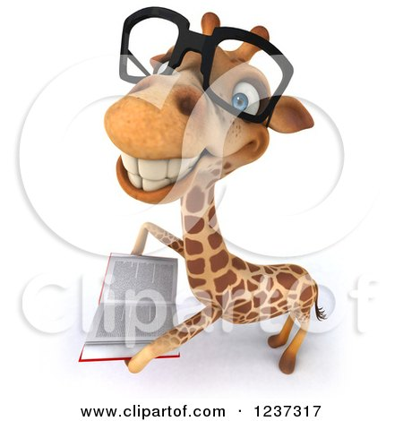 Clipart of a 3d Bespectacled Giraffe Smiling and Reading a Book - Royalty Free Illustration by Julos