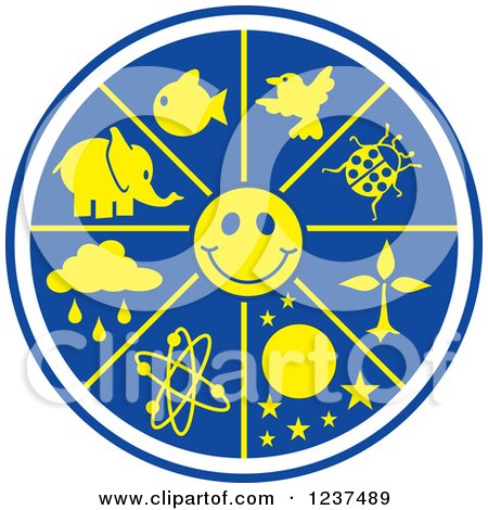 Clipart of a Blue and Yellow Science World with a Smiley Face - Royalty Free Vector Illustration by Johnny Sajem