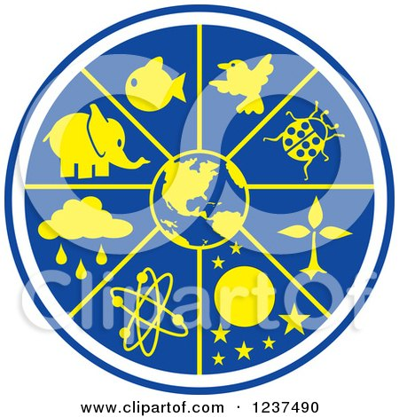 Clipart of a Blue and Yellow Science World - Royalty Free Vector Illustration by Johnny Sajem