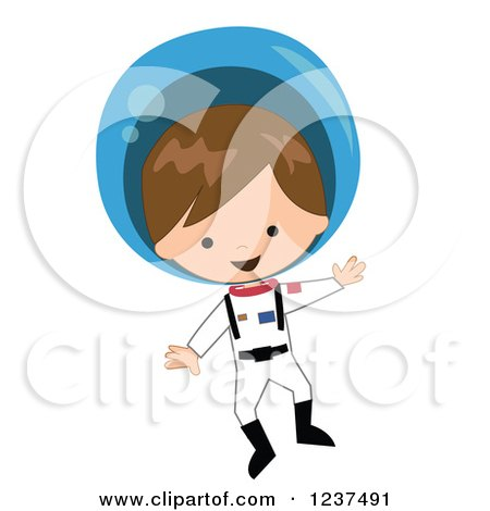 Clipart of a Caucasian Astronaut Boy Floating in a Space Suit - Royalty Free Vector Illustration by peachidesigns