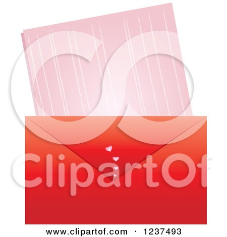 Clipart of a Red Valentine Envelope and Love Leatter - Royalty Free Vector Illustration by Pams Clipart
